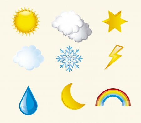weather icons over beige background illustration Stock Vector - 15068141