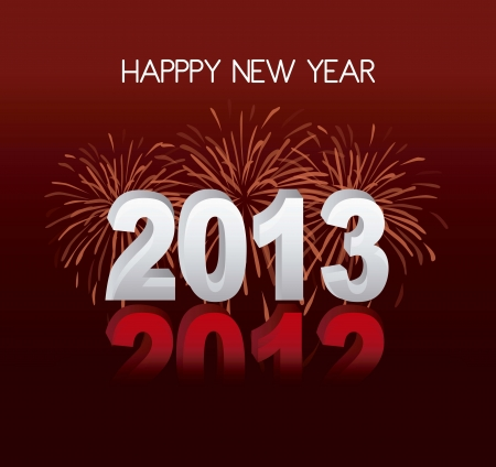 happy new year over red background, 2013 illustration Stock Vector - 15068164