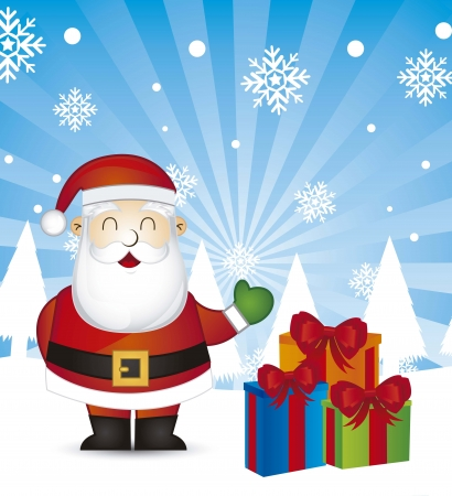 santa claus with gifts over snow background illustration Stock Vector - 15067985