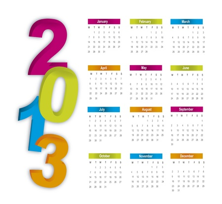 colorful 2013 calendar over white background illustration Stock Vector - 15068171