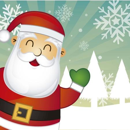 feliz: Babbo Natale su sfondo illustrazione paesaggio di neve