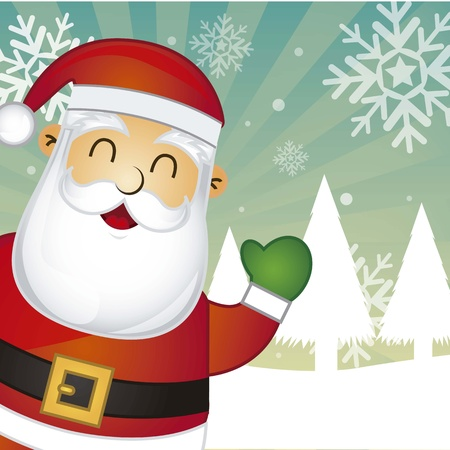 christmas costume: santa claus over snow landscape background illustration Illustration