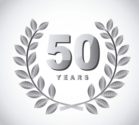 50 years with laurel wreath over gray background Vector