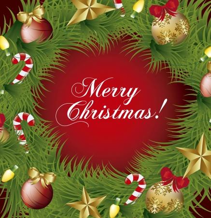 adventskranz: merry christmas card mit Kranz Hintergrund