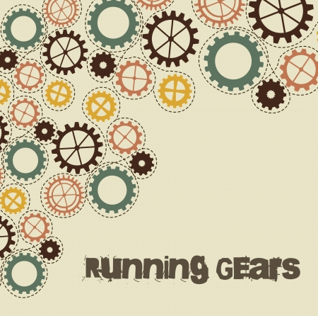 running gears over beige background illustration Vector