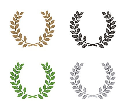 laurel leaf: laurel wreath isolated over white background illustration