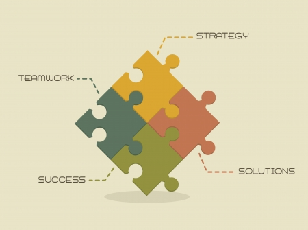 puzzle shadow: strategy, solutions, succes and teamwork conceptual Illustration