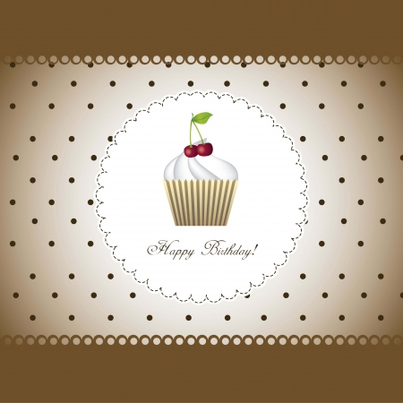 happy birthday card with cupcake over brown background