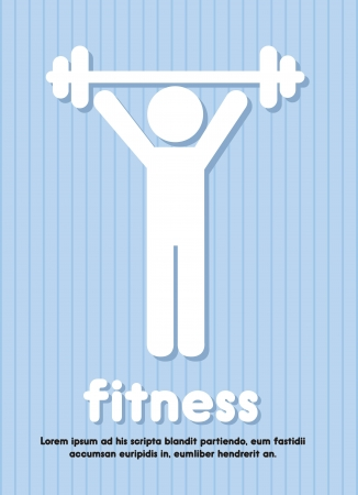 fitness sign over blue background illustration Vector