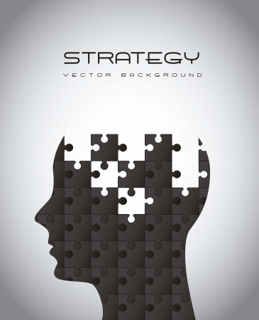 silhouette man with puzzles, strategy illustration