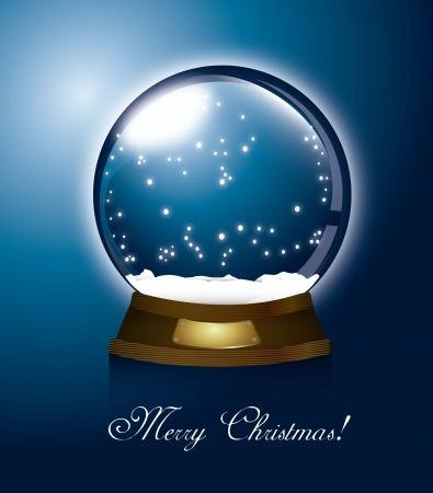 snow globe: blue christmas snow globe, merry christamas illustration Illustration