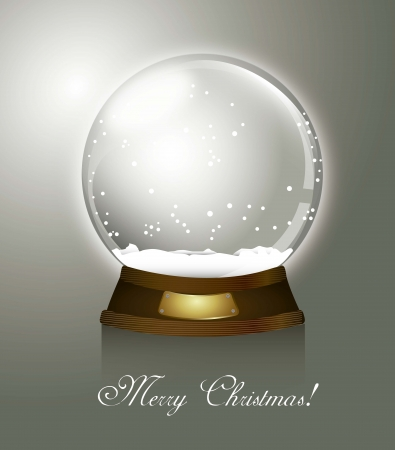 christmas snow globe: christmas snow globe over gray background, merry christmas