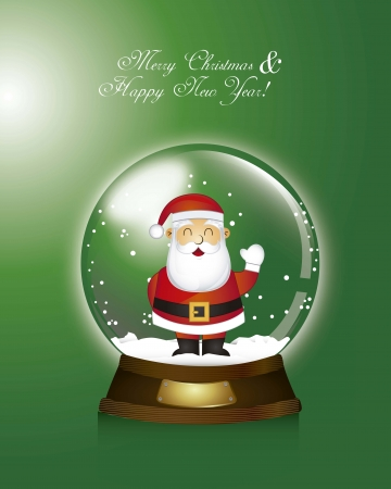 green christmas snow globe with santa claus illustration Vector