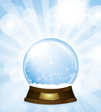 christmas snow globe over blue background illustration Vector