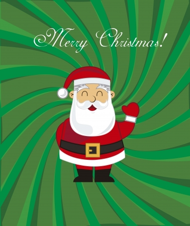 merry christmas card with santa claus Vector