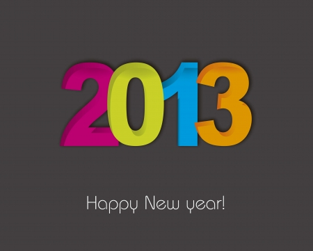 2013 new year over gray background illustration Vector