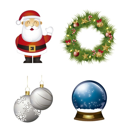 santa claus, garland with christmas balls and snow globe Stock Vector - 15068227