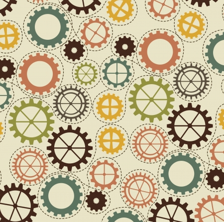 vintage gears over beige background illustration Vector