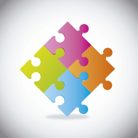 togetherness: colorfl puzzles with shadow over gray background illustration Illustration