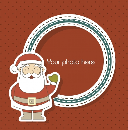 christmas card with santa claus over red background illustration Vector