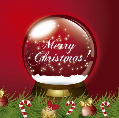 red christmas snow globe with garland illustration Vector