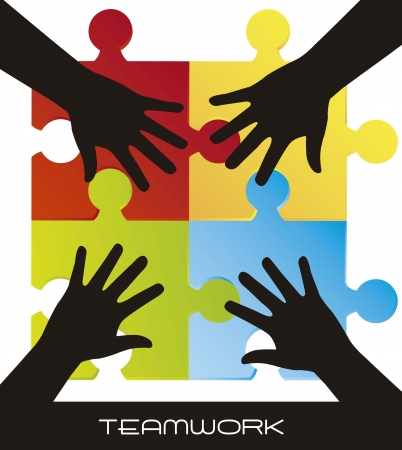 togetherness: colorful puzzles with silhouette hands, teamwork Illustration
