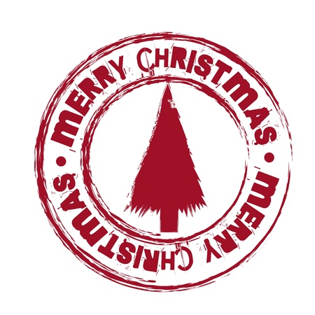 red merry christmas seal with tree isolated illustration Stock Vector - 15068167