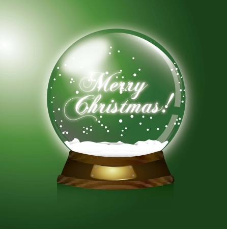 green christmas snow globe, merry christmas illustration Vector