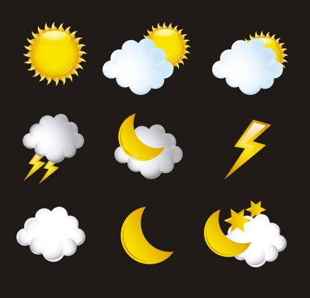 weather icons isoalted over black background illustration Stock Vector - 15068168