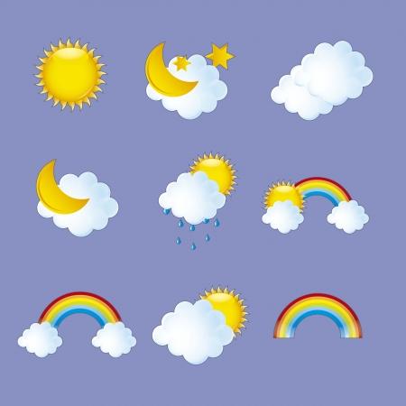 sonne mond und sterne: Wettersymbole �ber violettem Hintergrund illustration