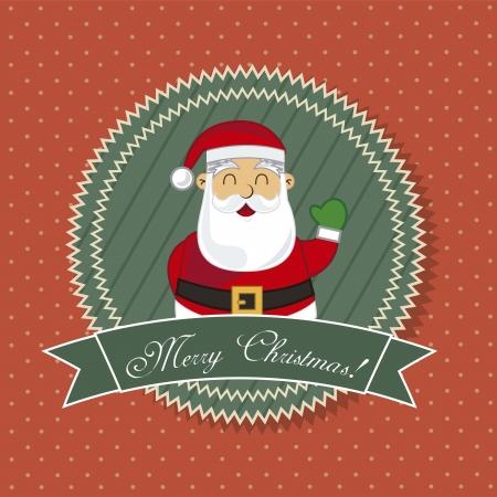 oldman: merry christmas tag wtih santa claus, vintage illustration