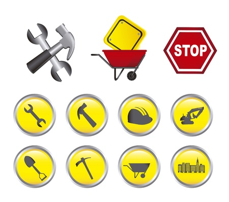 construction icons with buttons isolated over white background Stock Vector - 15068089