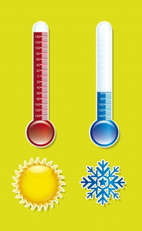 thermometer with sun and snowflake over green background illustration Stock Vector - 15068145