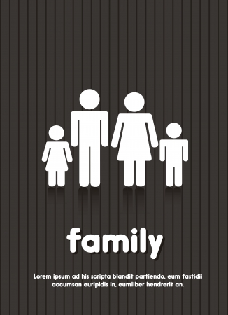 black family: family sign over black background illustration
