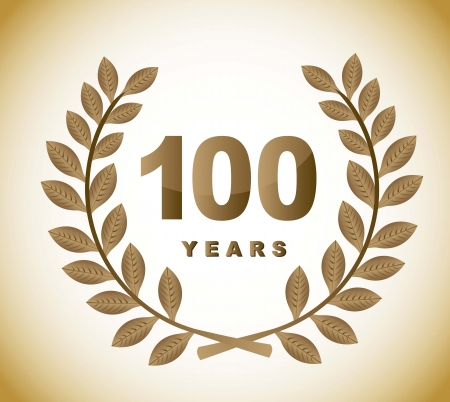 100 years with gold laurel wreath over brown background Vector