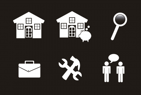 house with tools and people over black bacground Stock Vector - 15068000