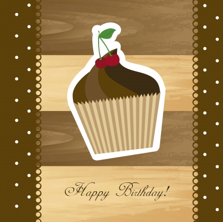 birthday card with cup cake over wooden texture Vector