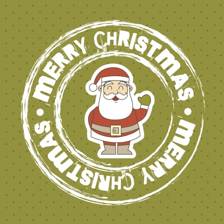 merry christmas seal with santa claus over green background Vector