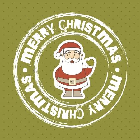 feliz: merry christmas sigillo con Babbo Natale su sfondo verde Vettoriali