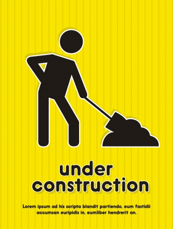 construct: under construction icon over yellow background illustration
