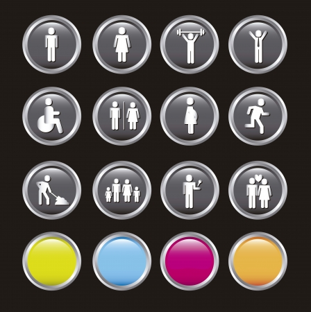people icons over black background illustration Vector
