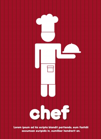 chef icon over red background illustration Vector