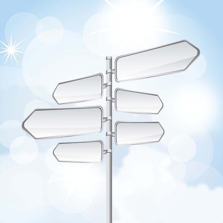 road warning sign: se�al de tr�fico en blanco sobre el cielo de fondo ilustraci�n