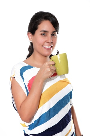 beautiful woman holding a cup, with an expression of joy photo