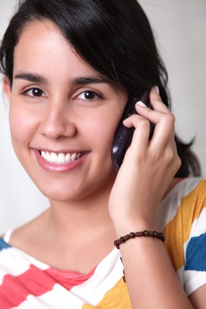 woman talking on phone with great happiness photo