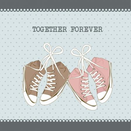 cute sneakers over aquamarine background. vector illustration