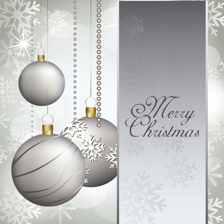 christmas card with balls and space for copy. vector illustration