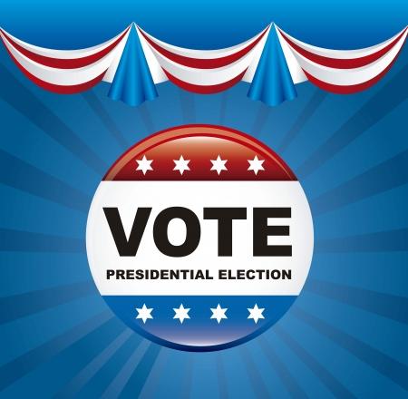 election vote: united states election vote over blue background. vector illustration