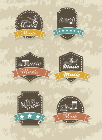 music tags over grunge background. vector illustration Vector