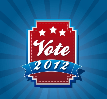 vote label over blue background. vector illustration Vector